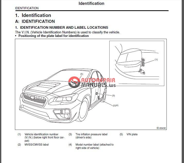 Subaru WRX & STI 2015 WORKSHOP MANUAL | Auto Repair Manual ...