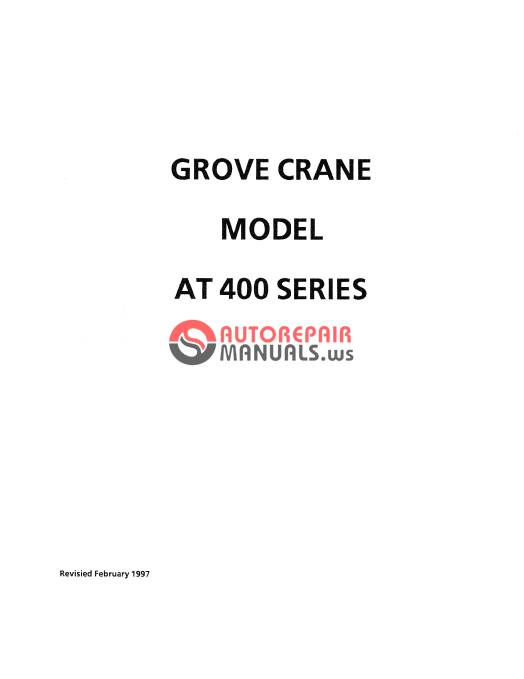 Grove Mobile Crane AT400 Series Operator and Maintenance