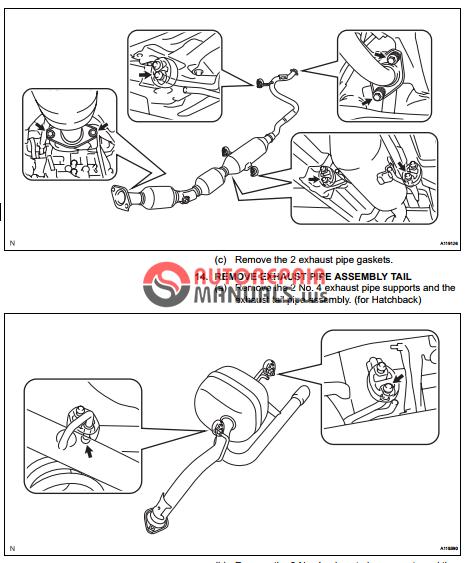 Free Download  Toyota Yaric Repair Manuals  Exhaust Pipe