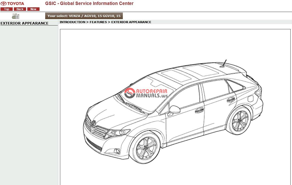 Toyota Venza Gsic Agv10 15 Ggv10 15 Workshop Manual