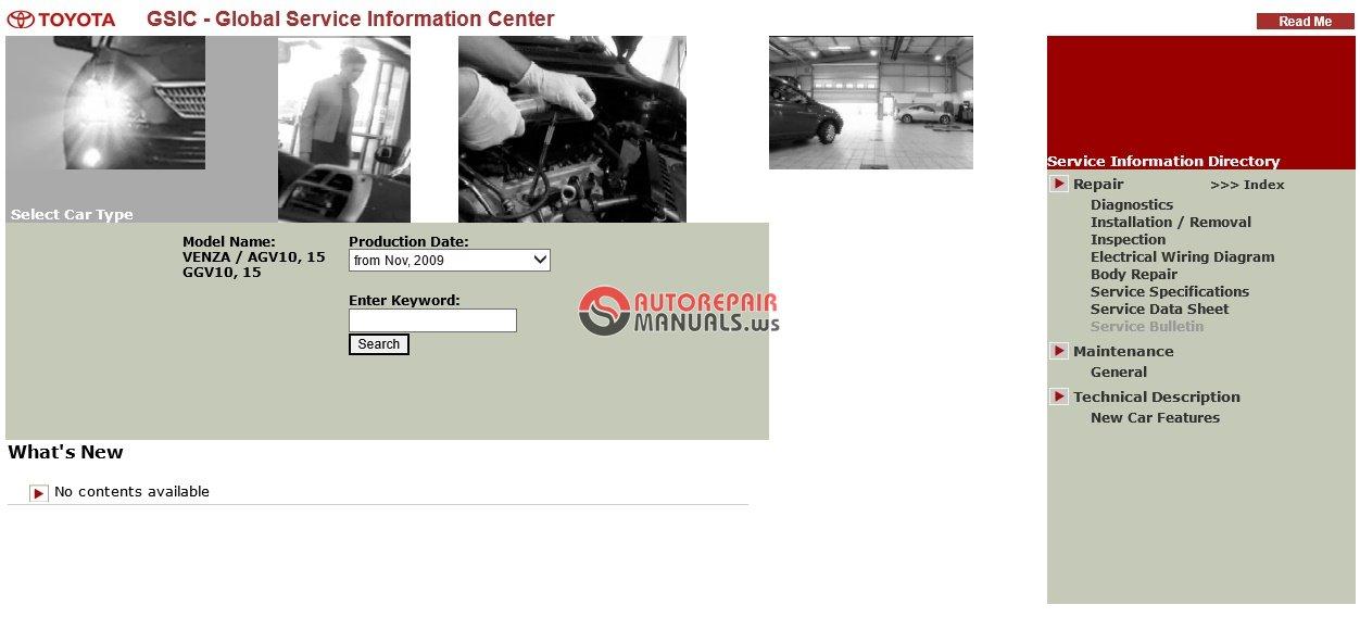 TOYOTA VENZA GSIC AGV10 15 GGV10 15 WORKSHOP MANUAL | Auto