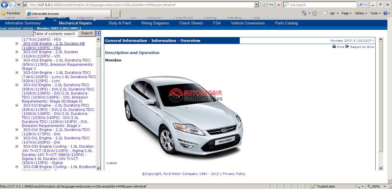 Ford ETIS Workshop Manual Europe 2012 VM   Auto Repair