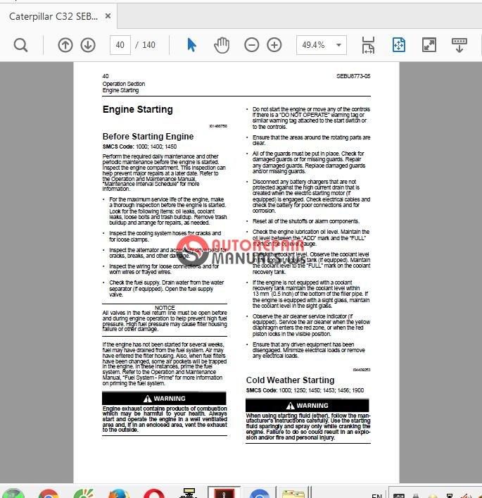 Caterpillar C32 SEBU8773-05 Engine Operation-Maittenance Manual