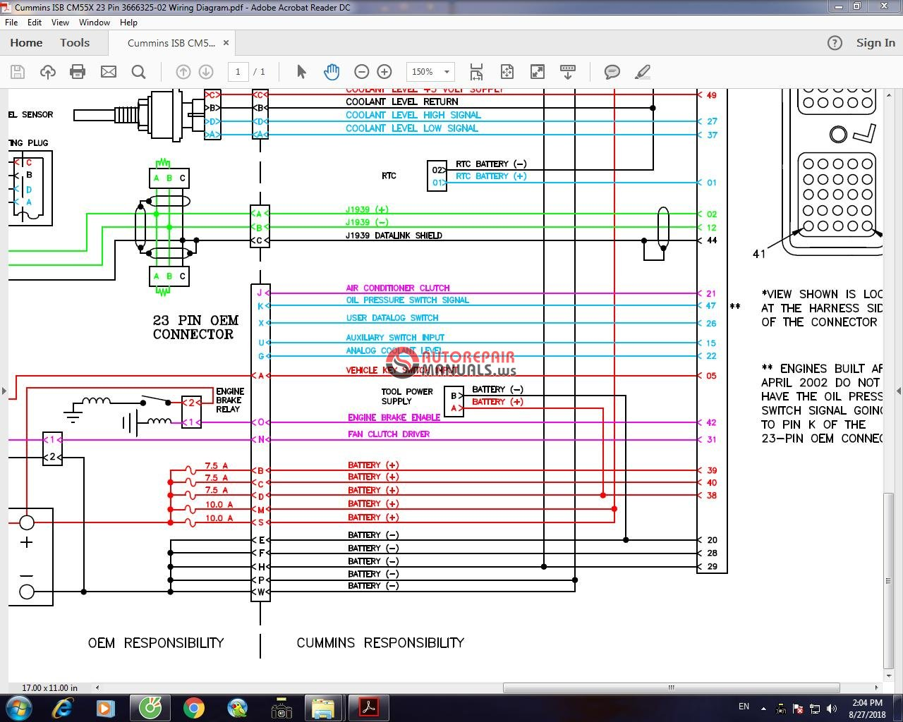 cummins isb cm55x 23 pin 3666325-02 wiring diagram | auto ... isb 23 pin wiring diagram isb 170 hp wiring diagram #3