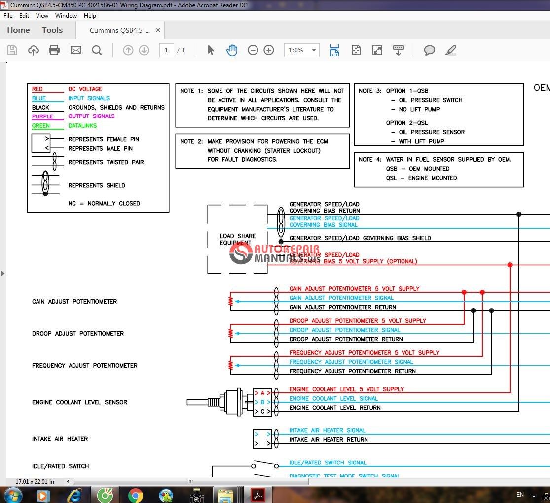 Cummins QSB45CM850 PG 402158601    Wiring       Diagram      Auto