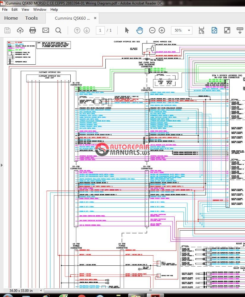 Cummins QSK60 MCRSD C CE CEPPS 2883394-01 Wiring Diagram